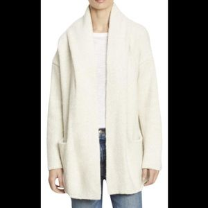VINCE Hooded Open Front Wool Blend Cardigan